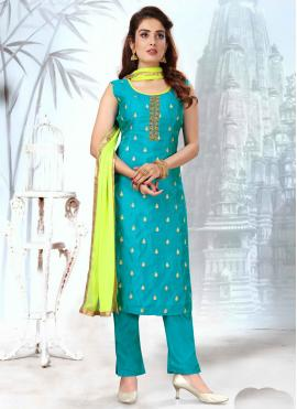 Amusing Fancy Blue Art Silk Readymade Suit