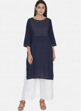 Amusing Rayon Embroidered Blue Casual Kurti