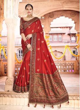 Amusing Red Silk Traditional Designer Saree