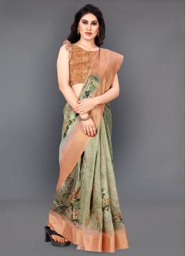 Amusing Silk Multi Colour Digital Print Classic Saree