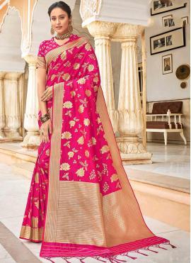 Amusing Weaving Pink Banarasi Silk Designer Saree