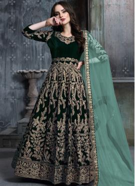 Anarkali Salwar Suit Zari Velvet in Green