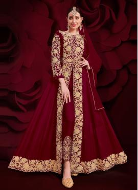 Anarkali Suit Embroidered Faux Georgette in Maroon