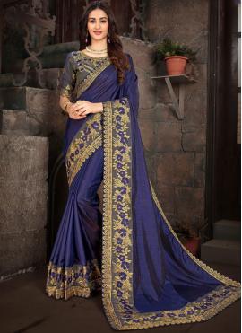 Angelic Art Silk Blue Embroidered Designer Saree