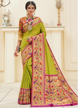 Angelic Banarasi Silk Weaving Green Traditional Designer Saree