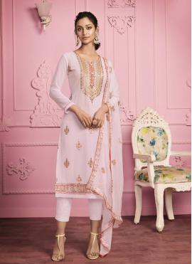 Angelic Embroidered Faux Georgette Pink Pant Style Suit