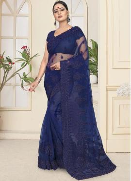 Angelic Net Blue Designer Saree