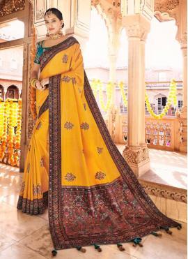 Angelic Silk Mustard Embroidered Traditional Designer Saree