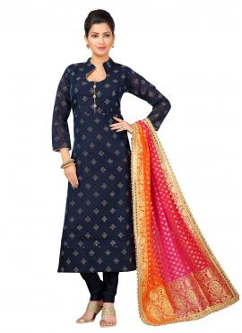 Appealing Abstract Print Navy Blue Trendy Churidar Salwar Suit