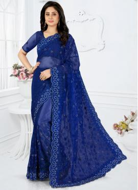 Appealing Blue Embroidered Classic Designer Saree