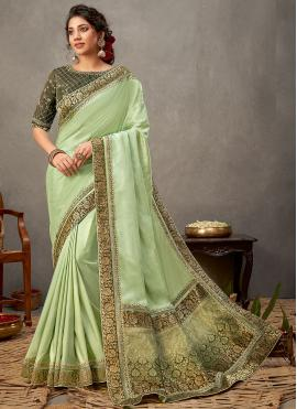 Appealing Patch Border Tussar Silk Green Designer Saree