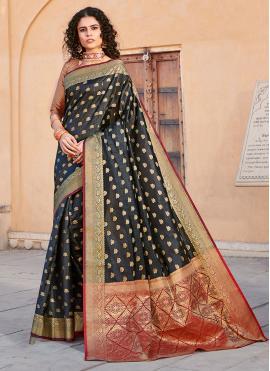 Appealing Silk Weaving Black Trendy Saree