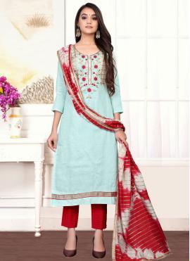 Aqua Blue Handwork Cotton Designer Straight Suit