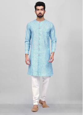 Aqua Blue Reception Kurta Pyjama