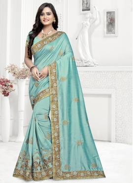 Aqua Blue Silk Embroidered Trendy Saree