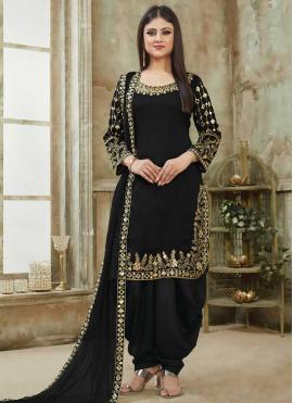 Aristocratic Art Silk Black Designer Patiala Suit