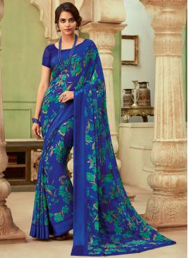 Aristocratic Floral Print Blue Saree
