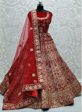 Aristocratic Red Resham Lehenga Choli