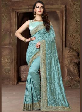 Aristocratic Resham Art Silk Blue Traditional Designer Saree
