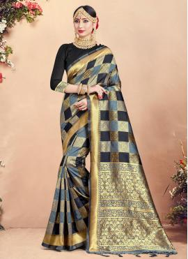 Art Banarasi Silk Designer Traditional Saree in Multi Colour