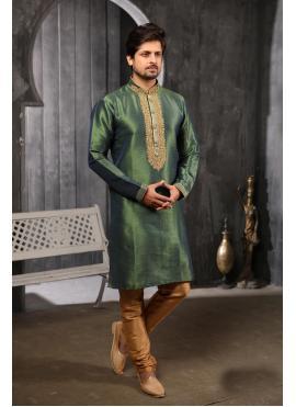 Art Banarasi Silk Embroidered Green Kurta Pyjama