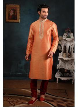 Art Banarasi Silk Embroidered Orange Kurta Pyjama
