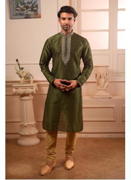 Art Banarasi Silk Green Kurta Pyjama