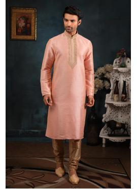 Art Banarasi Silk Kurta Pyjama in Peach