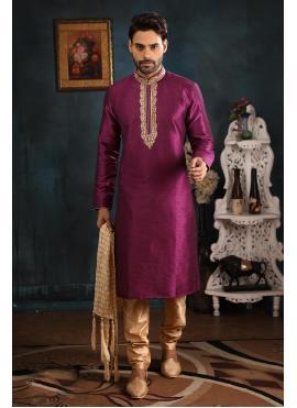 Art Banarasi Silk Magenta Kurta Pyjama
