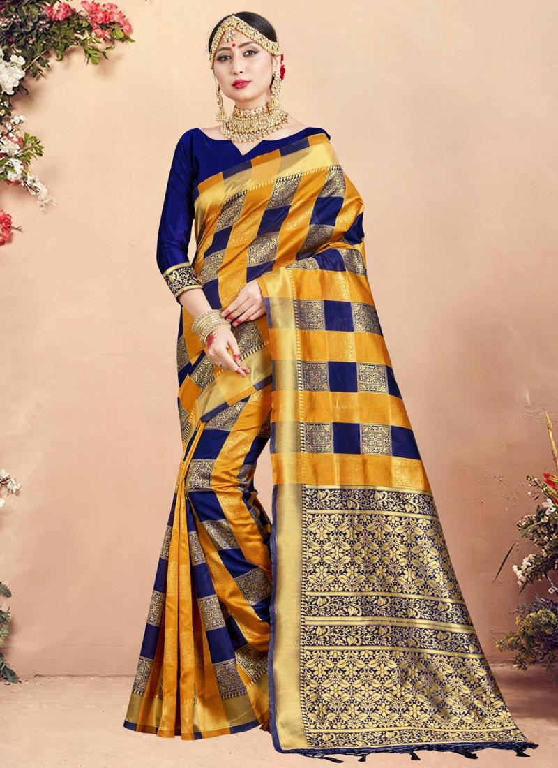 Art Banarasi Silk Multi Colour Designer Traditional Saree