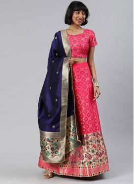 Art Banarasi Silk Pink A Line Lehenga Choli