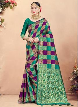 Art Banarasi Silk Traditional Designer Saree in Multi Colour