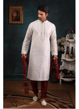 Art Banarasi Silk White Kurta Pyjama
