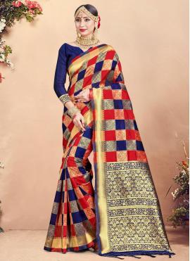 Art Banarasi Silk Woven Traditional Saree in Multi Colour