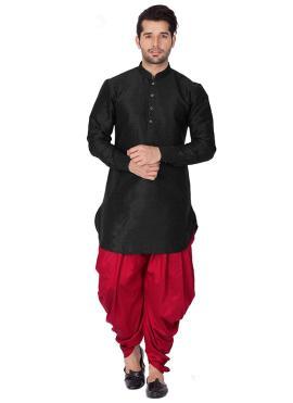 Art Dupion Silk Black Plain Kurta Pyjama