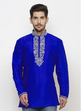 Art Dupion Silk Blue Kurta