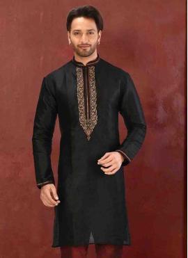 Art Dupion Silk Embroidered Black Nehru Jackets
