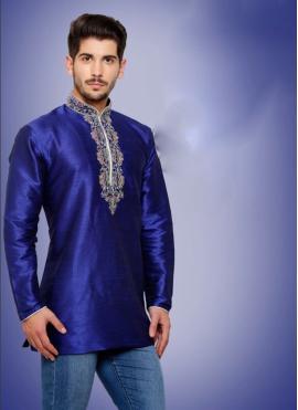 Art Dupion Silk Embroidered Blue Kurta Pyjama