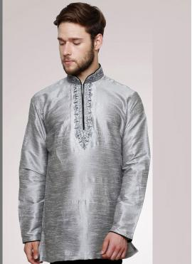 Art Dupion Silk Embroidered Grey Kurta Pyjama