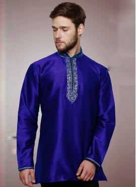 Art Dupion Silk Embroidered Kurta in Blue