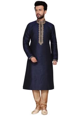 Art Dupion Silk Embroidered Navy Blue Kurta Pyjama