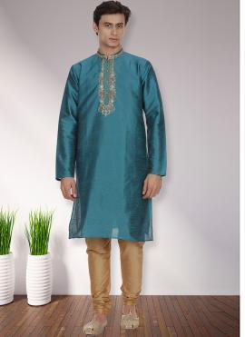 Art Dupion Silk Patchwork Turquoise Kurta Pyjama
