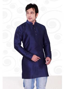 Art Dupion Silk Plain Navy Blue Kurta Pyjama