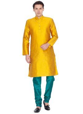 Art Dupion Silk Plain Yellow Kurta Pyjama