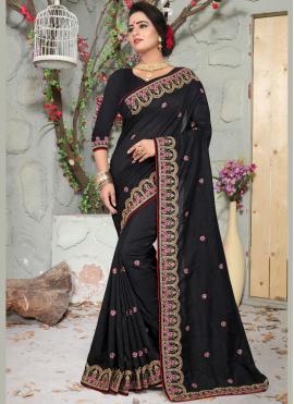Art Silk Black Patch Border Designer Traditional Saree