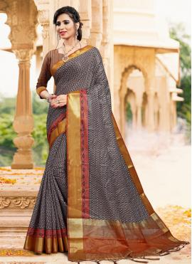 Art Silk Black Printed Classic Saree