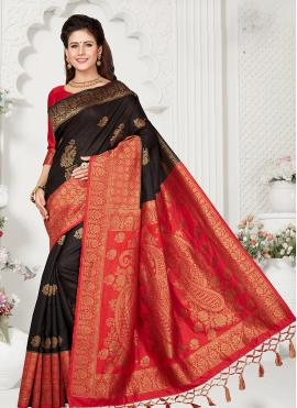 Art Silk Black Zari Classic Designer Saree