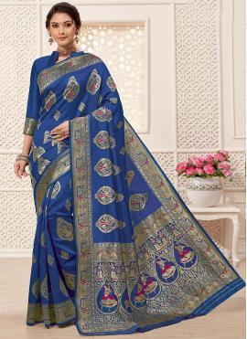 Art Silk Blue Jacquard Work Designer Traditional Saree