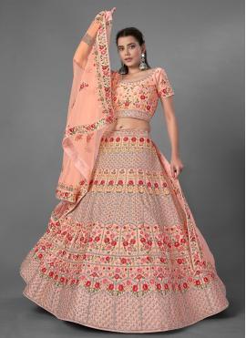 Art Silk Bollywood Lehenga Choli in Peach