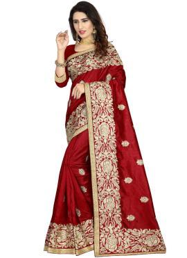 Art Silk Classic Designer Saree in Maroon
